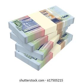 Uruguayan peso bills isolated on white background. 3D illustration.