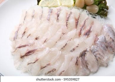 uruk hoe is korean style raw Rockfish sashimi