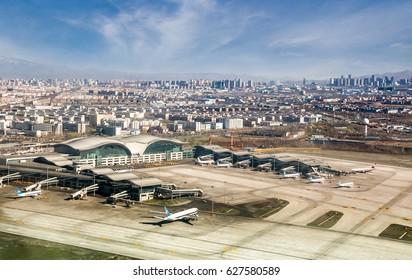 URUMQI, CHINA - APRIL 19: Aerial view of  Xinjiang Urumqi Diwopu International Airport on April 19,2017 in Urumqi , Xinjiang Uyghur Autonomous Region , China.