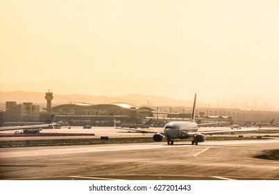 URUMQI, CHINA - APRIL 19: Aircrafts taxiing and waiting for take off from Xinjiang Urumqi Diwopu International Airport on April 19,2017 in Urumqi , Xinjiang Uyghur Autonomous Region , China.