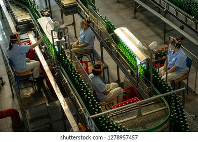 URUMQI, XINJIANG, CHINA- JULY 5, 2011: Xinjiang Wusu Brewery Co. Ltd. owns and operates a brewery that produces beer. The company was founded in 1986 and is based in Urumqi, China.