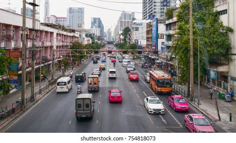 Uruphong intersection, Bangkok Street in November13, 2017 Transportation