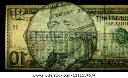 US 10 Obverse Art, Back Lit, Black Background, Magnified, Federal Reserve Note,