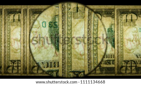 US 10 Obverse Art, Flipped, Back Lit, Fanned, Black Background, Magnified, Federal Reserve Note,