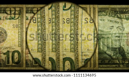 US 10 Reverse Art, Back Lit, Fanned, Black Background, Magnified, Federal Reserve Note,
