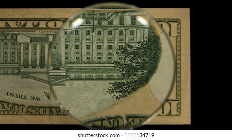 US 10 Reverse Art, Flipped, Front Lit, Black Background, Magnified, Federal Reserve Note,