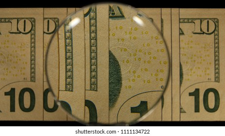US 10 Reverse Art, Front Lit, Fanned, Black Background, Magnified, Federal Reserve Note,