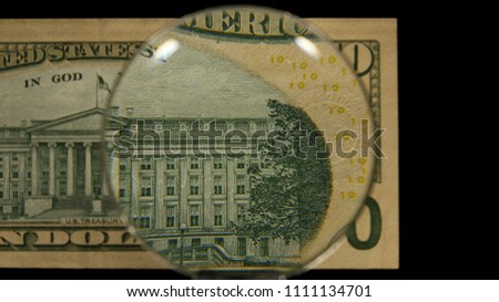 US 10 Reverse Art, Front Lit, Black Background, Magnified, Federal Reserve Note,