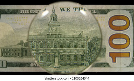 US 100 Federal Reserve Note, Magnified, Reverse Art, Front Lit, Black Background, by David Biagini, EnrichingImagery.com