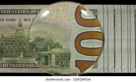 US 100 Federal Reserve Note, Magnified, Reverse Art, Front Lit, Black Background, Fanned, by David Biagini, EnrichingImagery.com