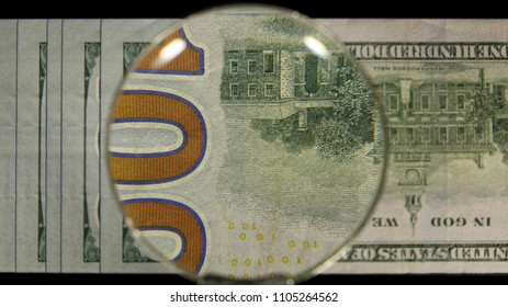 US 100 Federal Reserve Note, Magnified, Reverse Art, Flipped, Front Lit, Black Background, Fanned, by David Biagini, EnrichingImagery.com