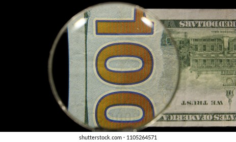 US 100 Federal Reserve Note, Magnified, Reverse Art, Flipped, Front Lit, Black Background, by David Biagini, EnrichingImagery.com