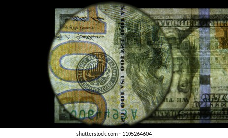 US 100 Federal Reserve Note, Magnified, Reverse Art, Flipped, Back Lit, Black Background, by David Biagini, EnrichingImagery.com