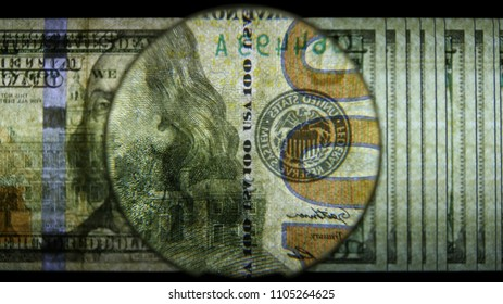 US 100 Federal Reserve Note, Magnified, Reverse Art, Back Lit, Black Background, Fanned, by David Biagini, EnrichingImagery.com