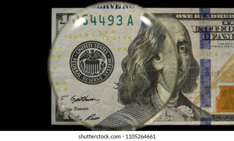 US 100 Federal Reserve Note, Magnified, Obverse Art, Front Lit, Black Background, by David Biagini, EnrichingImagery.com