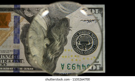 US 100 Federal Reserve Note, Magnified, Obverse Art, Flipped, Front Lit, Black Background, by David Biagini, EnrichingImagery.com