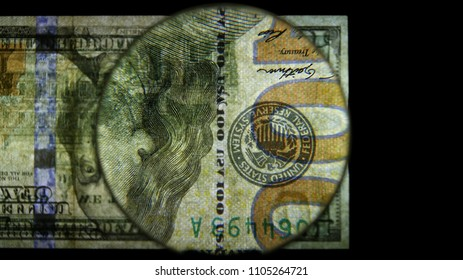 US 100 Federal Reserve Note, Magnified, Obverse Art, Flipped, Back Lit, Black Background, by David Biagini, EnrichingImagery.com