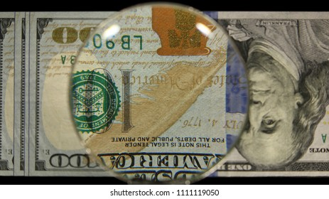 US 100 Obverse Art, Flipped, Front Lit, Fanned, Black Background, Magnified, Federal Reserve Note,