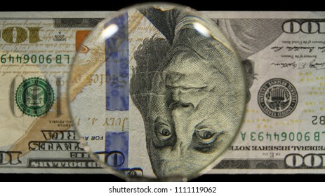 US 100 Obverse Art, Flipped, Front Lit, Black Background, Magnified, Federal Reserve Note,