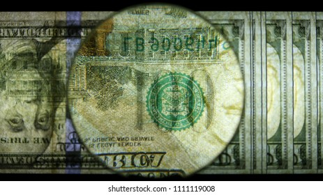 US 100 Reverse Art, Flipped, Back Lit, Fanned, Black Background, Magnified, Federal Reserve Note,