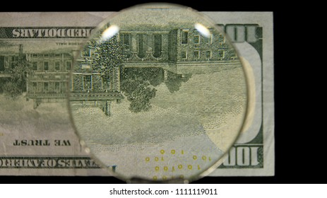 US 100 Reverse Art, Flipped, Front Lit, Black Background, Magnified, Federal Reserve Note,