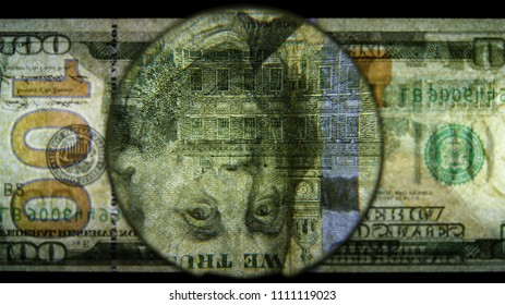 US 100 Reverse Art, Flipped, Back Lit, Black Background, Magnified, Federal Reserve Note,