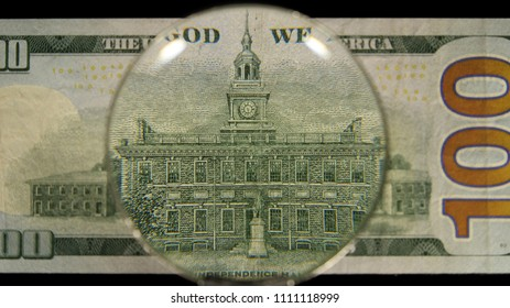 US 100 Reverse Art, Front Lit, Black Background, Magnified, Federal Reserve Note,