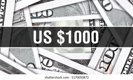 US $1000 Dollars Closeup Concept. American Dollars Cash Money. One thousand Dollar Banknote. 1000 Dollars bill USA money banknote, 3D rendering Cash money investment profit and US economy concept