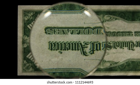 US 1000 Reverse Art, Flipped, Front Lit, Black Background, Magnified, Federal Reserve Note,