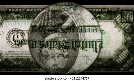 US 1000 Reverse Art, Flipped, Back Lit, Black Background, Magnified, Federal Reserve Note,