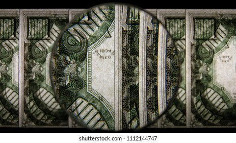 US 1000 Reverse Art, Flipped, Back Lit, Fanned, Black Background, Magnified, Federal Reserve Note,