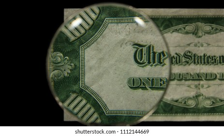 US 1000 Reverse Art, Front Lit, Black Background, Magnified, Federal Reserve Note,