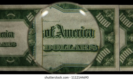 US 1000 Reverse Art, Front Lit, Fanned, Black Background, Magnified, Federal Reserve Note,