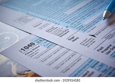 US 1040 Tax Form in near plan