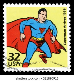US, 1998: a stamp issued by USPS in 1998 shows the Superman, one of the famous cartoon figures owned by DC comics, created by Jerry Siegel and Joe Shuster in 1933.
