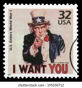 US- 1998: I Want You. US enters World War I. Issued by USPS. Canceled in usage.