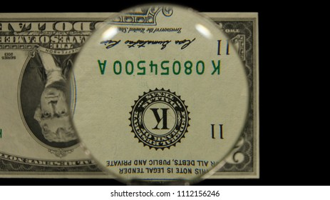 US 2 Obverse Art, Flipped, Front Lit, Black Background, Magnified, Federal Reserve Note,
