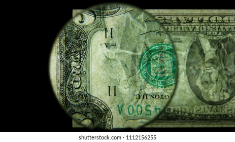 US 2 Obverse Art, Flipped, Back Lit, Black Background, Magnified, Federal Reserve Note,