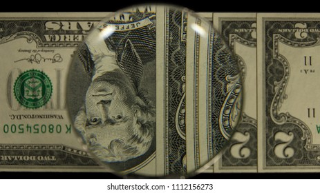 US 2 Obverse Art, Flipped, Front Lit, Fanned, Black Background, Magnified, Federal Reserve Note,