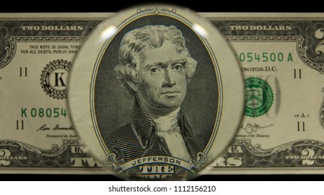 US 2 Obverse Art, Front Lit, Black Background, Magnified, Federal Reserve Note,