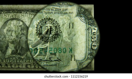 US 2 Reverse Art, Back Lit, Black Background, Magnified, Federal Reserve Note,
