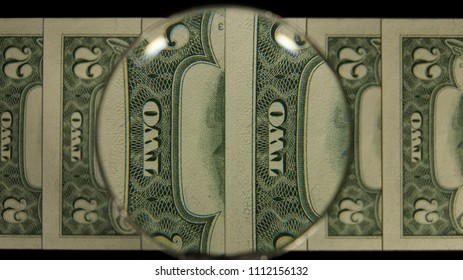 US 2 Reverse Art, Flipped, Front Lit, Fanned, Black Background, Magnified, Federal Reserve Note,