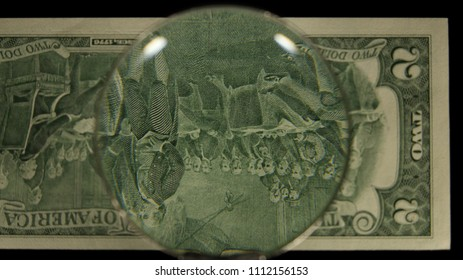 US 2 Reverse Art, Flipped, Front Lit, Black Background, Magnified, Federal Reserve Note,