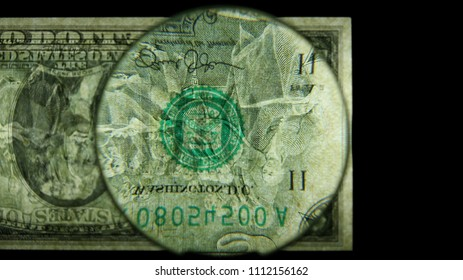 US 2 Reverse Art, Flipped, Back Lit, Black Background, Magnified, Federal Reserve Note,
