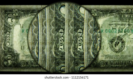 US 2 Reverse Art, Flipped, Back Lit, Fanned, Black Background, Magnified, Federal Reserve Note,