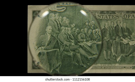 US 2 Reverse Art, Front Lit, Black Background, Magnified, Federal Reserve Note,