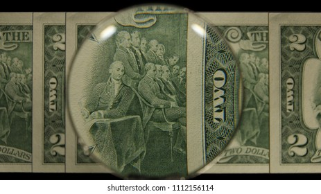 US 2 Reverse Art, Front Lit, Fanned, Black Background, Magnified, Federal Reserve Note,