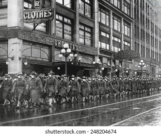 U.S. 39th regiment in Seattle, wear masks to prevent influenza. Dec. 1918. The soldiers were on their way to France during the 1918-19 'Spanish' Influenza pandemic.