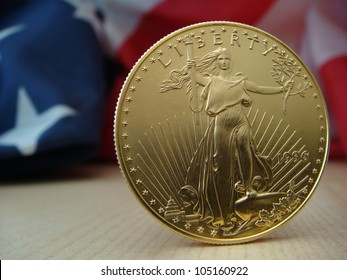 US $50 Gold Eagle Obverse Standing On Right with US Flag in Back Ground
