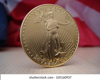 US $50 Gold Eagle Obverse Standing Centered with US Flag in Back Ground